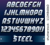 metallic 3d font. vector design ... | Shutterstock .eps vector #113486860