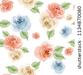 watercolor floral background... | Shutterstock . vector #1134870080
