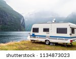 caravan in a relaxing nature... | Shutterstock . vector #1134873023