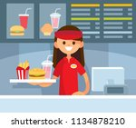 fast food restaurant worker   Shutterstock .eps vector #1134878210