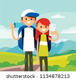 couple of young people making... | Shutterstock .eps vector #1134878213