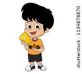 kid won the football match... | Shutterstock .eps vector #1134878870