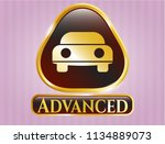 gold shiny emblem with car... | Shutterstock .eps vector #1134889073