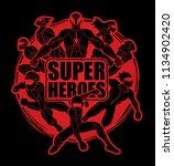 group of super heroes action... | Shutterstock .eps vector #1134902420