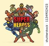 group of super heroes action... | Shutterstock .eps vector #1134902423