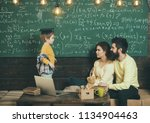 lesson concept. little boy... | Shutterstock . vector #1134904463