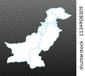 Map of Pakistan. Vector illustration on transparent background. Items are placed on separate layers and editable. Vector illustration eps 10.