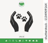 shelter pets sign icon. hands... | Shutterstock .eps vector #1134909164