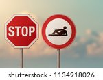 Small photo of Unemployed, lazy, gigolo, passivity - symbols of stop and lying man. Road signs.