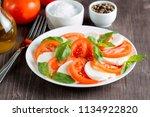 close up photo of caprese salad ... | Shutterstock . vector #1134922820