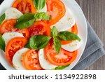close up photo of caprese salad ... | Shutterstock . vector #1134922898