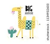 cute camel eats a cactus. camel ... | Shutterstock .eps vector #1134932603