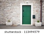 Green Door In Old Stone House ...