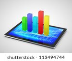chart in  tablet  on a white background - stock photo