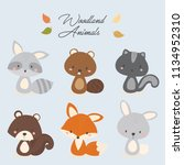 set of cute woodland animal.... | Shutterstock .eps vector #1134952310