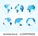 blue map globe set symbol of... | Shutterstock .eps vector #1134959606