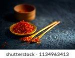 saffron spices. saffron on... | Shutterstock . vector #1134963413