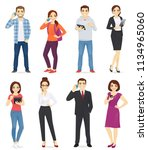 people with gadgets set... | Shutterstock .eps vector #1134965060