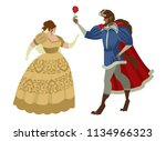 beauty woman and beast with... | Shutterstock .eps vector #1134966323