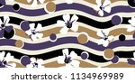 trendy floral pattern. stripes  ... | Shutterstock .eps vector #1134969989