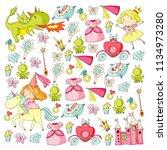 princess vector patterns. cute... | Shutterstock .eps vector #1134973280