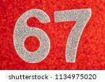 number sixty seven silver color ... | Shutterstock . vector #1134975020