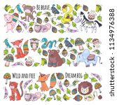 pattern with cute forest and... | Shutterstock .eps vector #1134976388