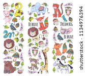 pattern with cute forest and... | Shutterstock .eps vector #1134976394