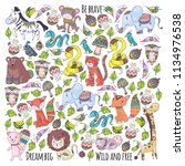pattern with cute forest and... | Shutterstock .eps vector #1134976538