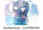 unrecognizable successful... | Shutterstock . vector #1134980339