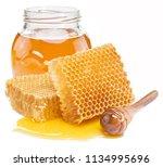 jar full of fresh honey and... | Shutterstock . vector #1134995696