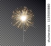 bengal fire. new year sparkler... | Shutterstock .eps vector #1135000880