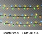 christmas color lights string.... | Shutterstock .eps vector #1135001516