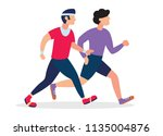 two running men. cartoon... | Shutterstock .eps vector #1135004876