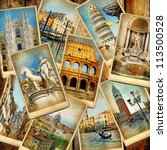 travel in italy  vintage collage | Shutterstock . vector #113500528