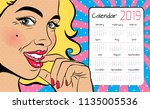 a calendar for 2019 in the... | Shutterstock .eps vector #1135005536