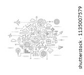 modern flat line icon set of... | Shutterstock .eps vector #1135007579