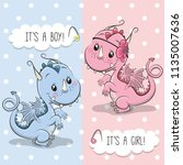 baby shower greeting card with... | Shutterstock .eps vector #1135007636
