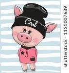 cute cartoon pig in a black hat | Shutterstock .eps vector #1135007639