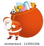 santa with bag full of gifts | Shutterstock .eps vector #113501206