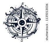 boho illustration of a compass... | Shutterstock .eps vector #1135013036