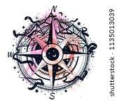 boho illustration of a compass... | Shutterstock .eps vector #1135013039