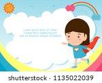 superhero kid on background... | Shutterstock .eps vector #1135022039