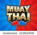 muay thai poster speech label... | Shutterstock .eps vector #1135024940