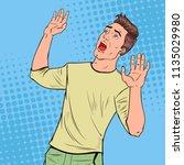 pop art frightened man. scared... | Shutterstock .eps vector #1135029980