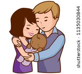 mother and father holding their ... | Shutterstock . vector #1135030844