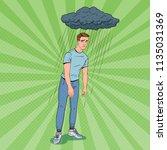 pop art depressed young man... | Shutterstock .eps vector #1135031369