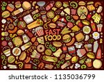 colorful vector hand drawn... | Shutterstock .eps vector #1135036799