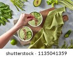 green detox smoothies from... | Shutterstock . vector #1135041359
