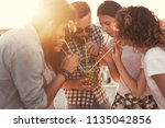group of young friends having... | Shutterstock . vector #1135042856